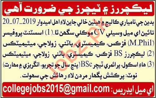 Teaching Staff Job in Badin
