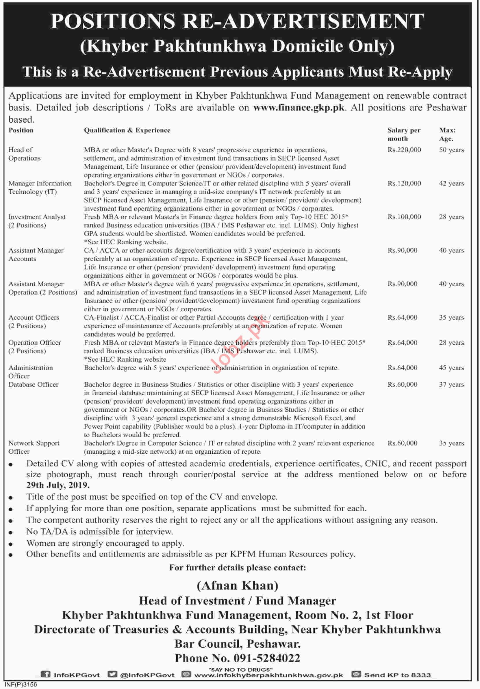 KP Finance Department Jobs 2019 for Managers