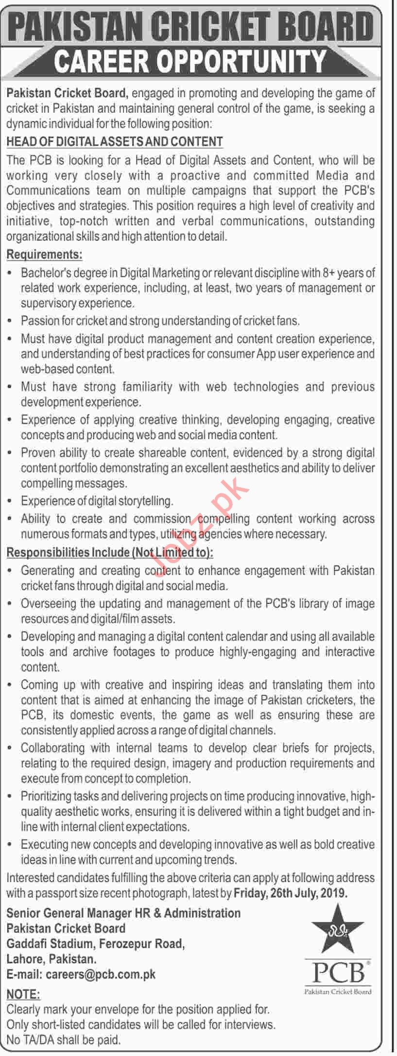 PCB Lahore Jobs for Head of Digital Assets & Content