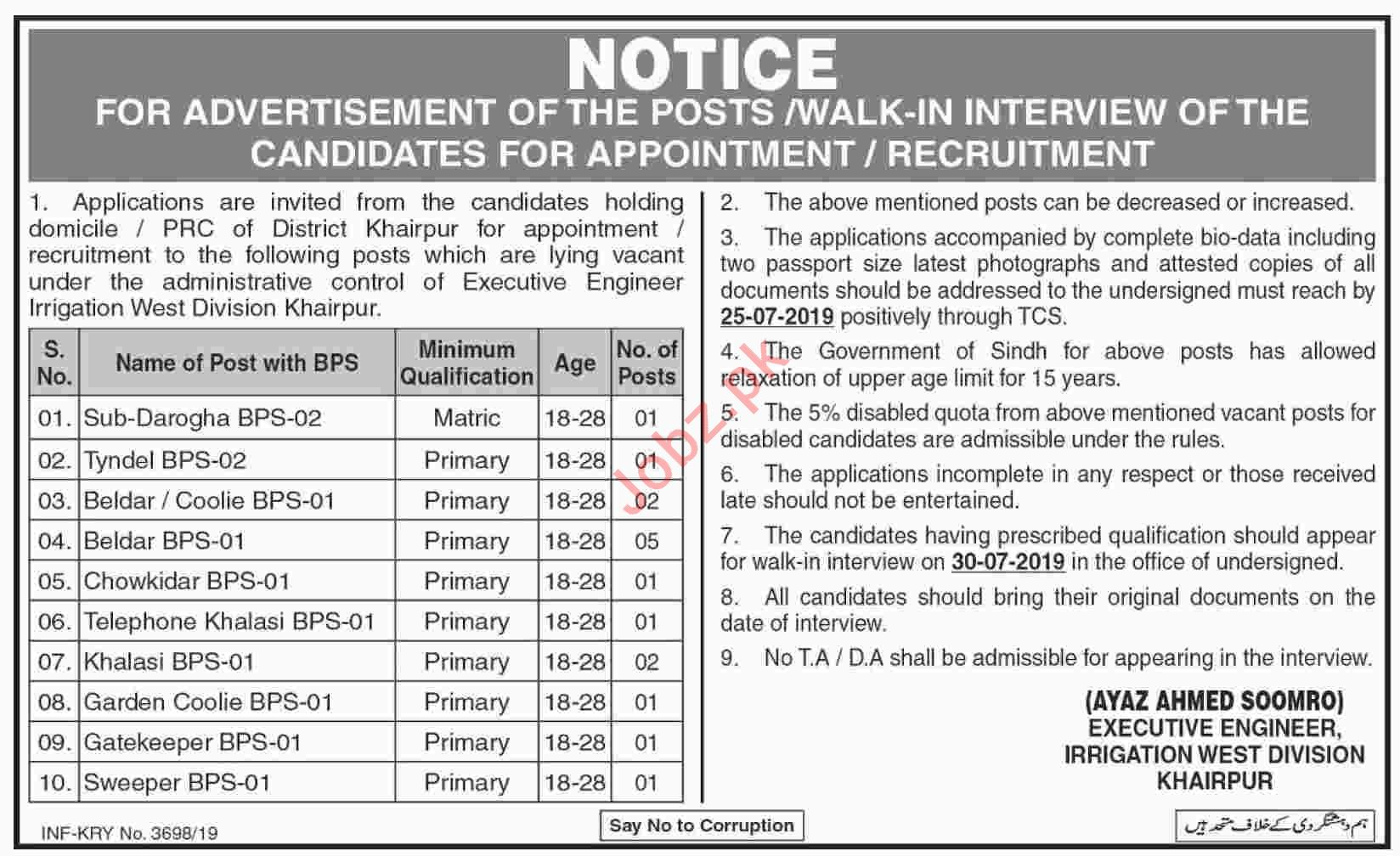 Executive Engineer Irrigation West Division Khairpur Jobs