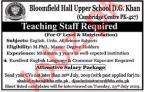 Bloomfield Hall Upper School Jobs in Dera Ghazi Khan 2019