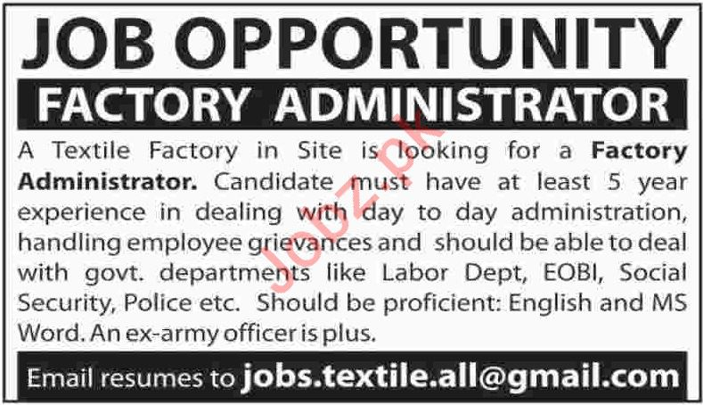 Factory Administrator Jobs 2019 in Karachi