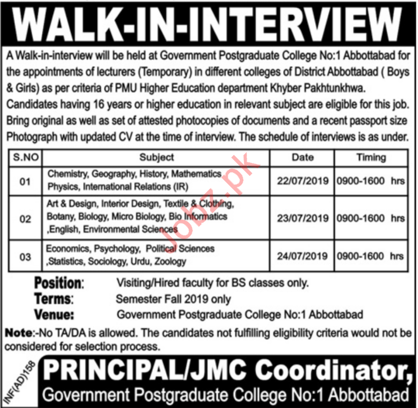 Government Postgraduate College Walk In Interviews 2019