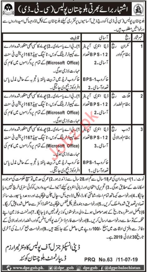 Balochistan Police CTD Counter Terrorism Department Jobs