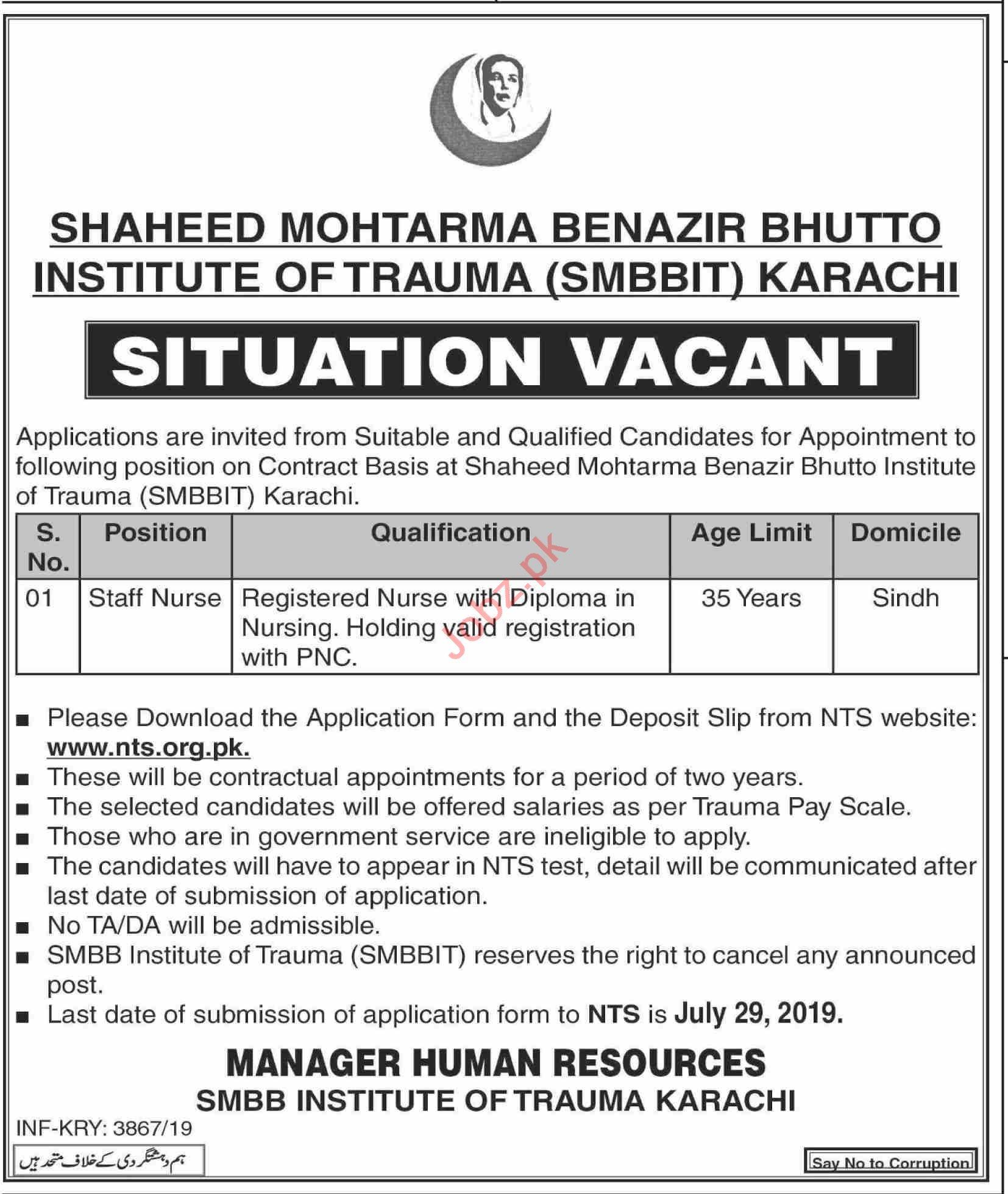 SMBBIT Staff Nurse Job in Karachi 2019 Job Advertisement