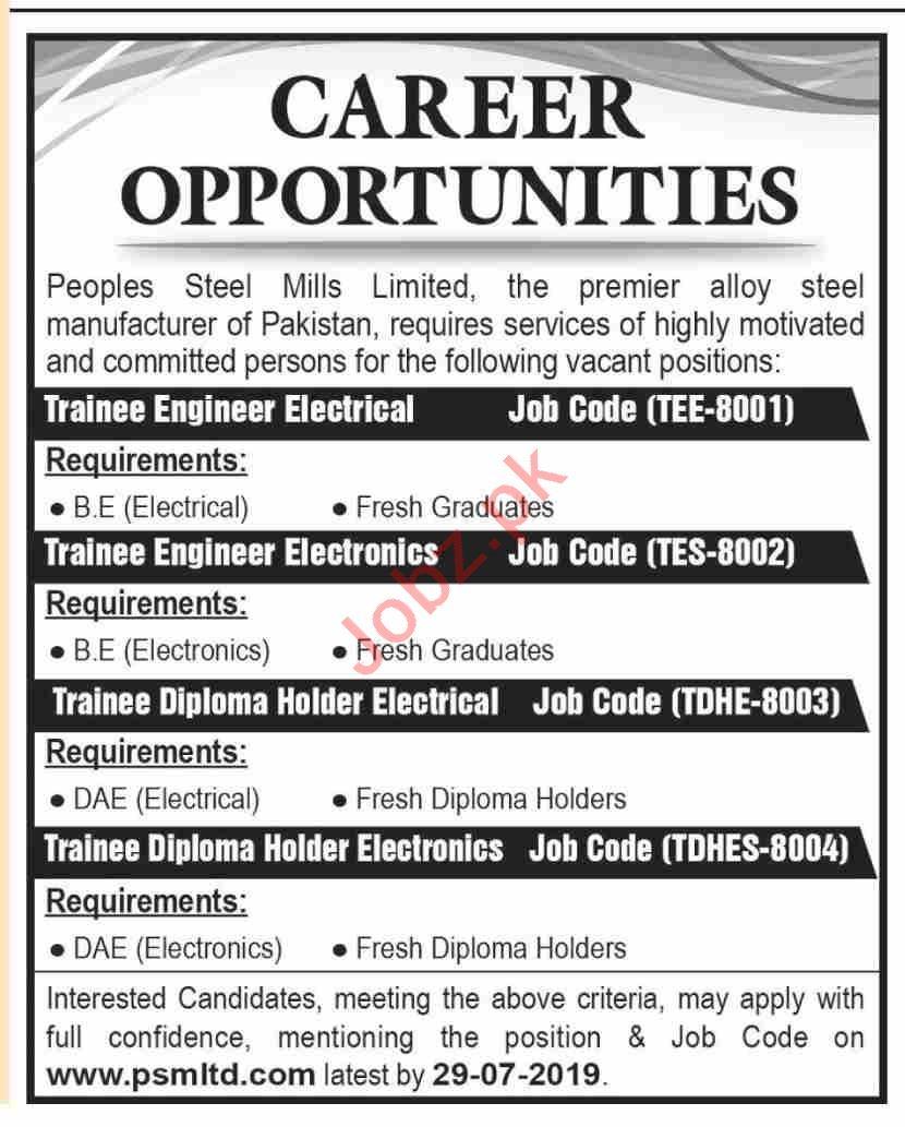 Peoples Steel Mills Management Jobs 2019 in Karachi