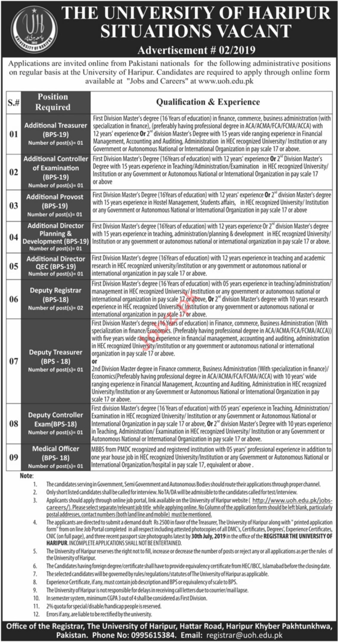 The University of Haripur UOH Jobs 2019 in Haripur KPK