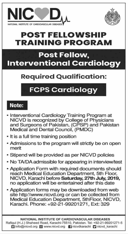 National Institute of Cardiovascular Diseases Job in Karachi