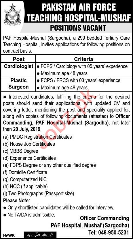 Pakistan Air Force PAF Teaching Hospital Jobs 2019