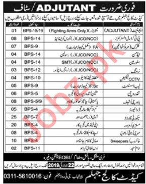 Pak Army Cadet College Jobs 2019 For Jhelum