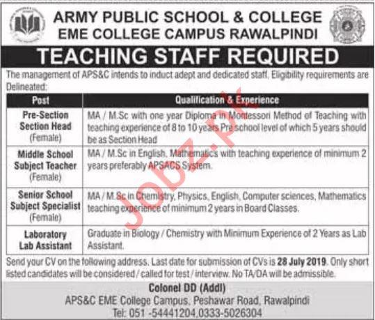Army Public School & College EME College Campus Jobs 2019