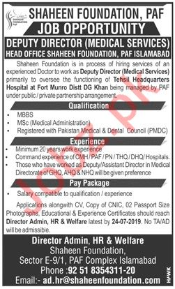 Shaheen Foundation PAF Islamabad Jobs 2019