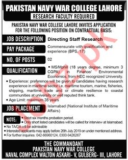Pakistan Navy War College Lahore Jobs 2019 for Director