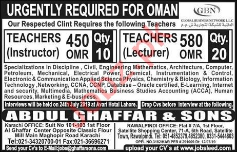 Teachers & Instructor Jobs 2019 Job Advertisement Pakistan