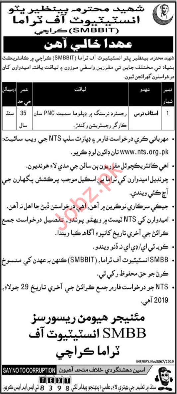 SMBBIT Job 2019 For Charge Nurse in Karachi via NTS