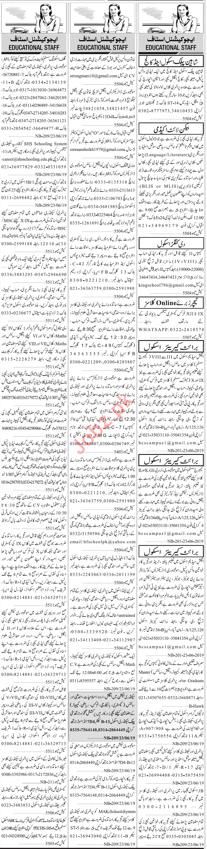 Jang Sunday Classified Ads 14th July 2019 for Teaching Staff