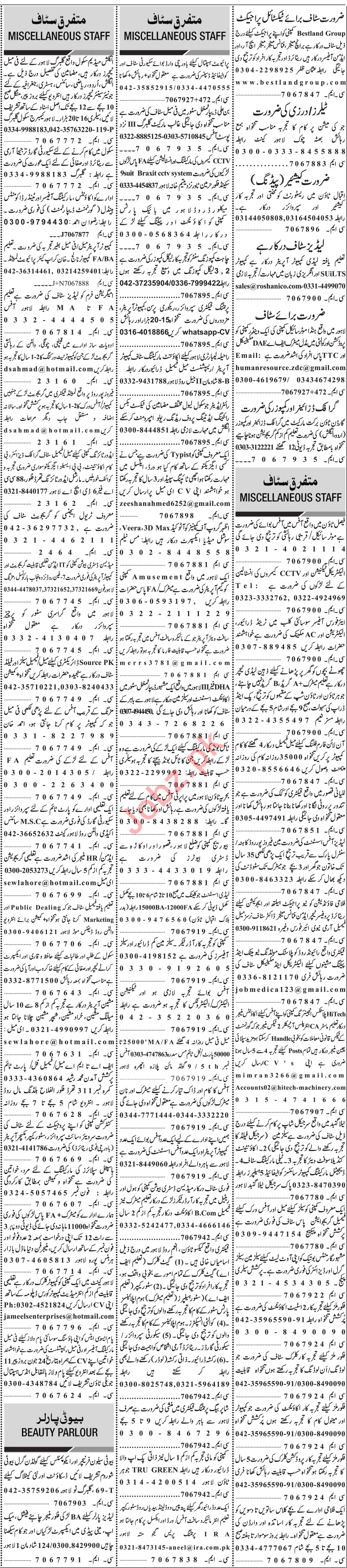 Jang Sunday Classified Ads 14th July 2019 for Office Staff