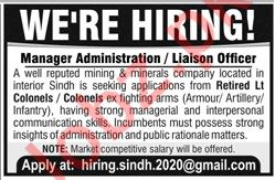 Manager Administration & Liaison Officer Jobs 2019