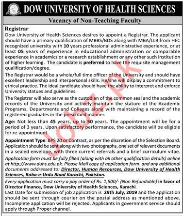Dow University of Health Sciences DUHS Jobs In Karachi