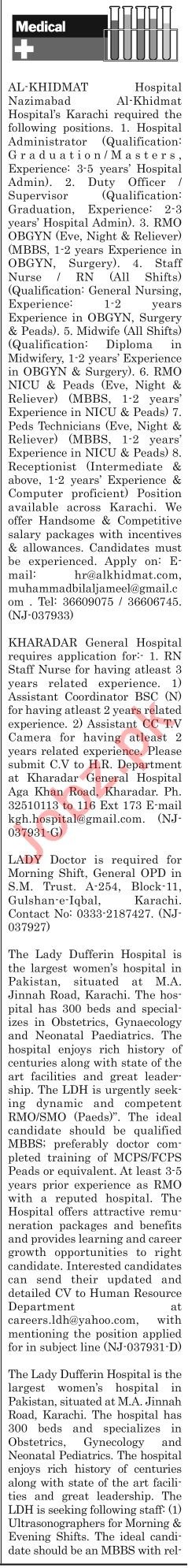 The News Sunday Classified Ads 14th July 2019 Medical Staff
