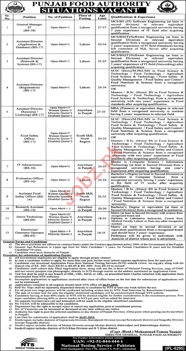 Punjab Food Authority Lahore Jobs 2019 for IT Staff