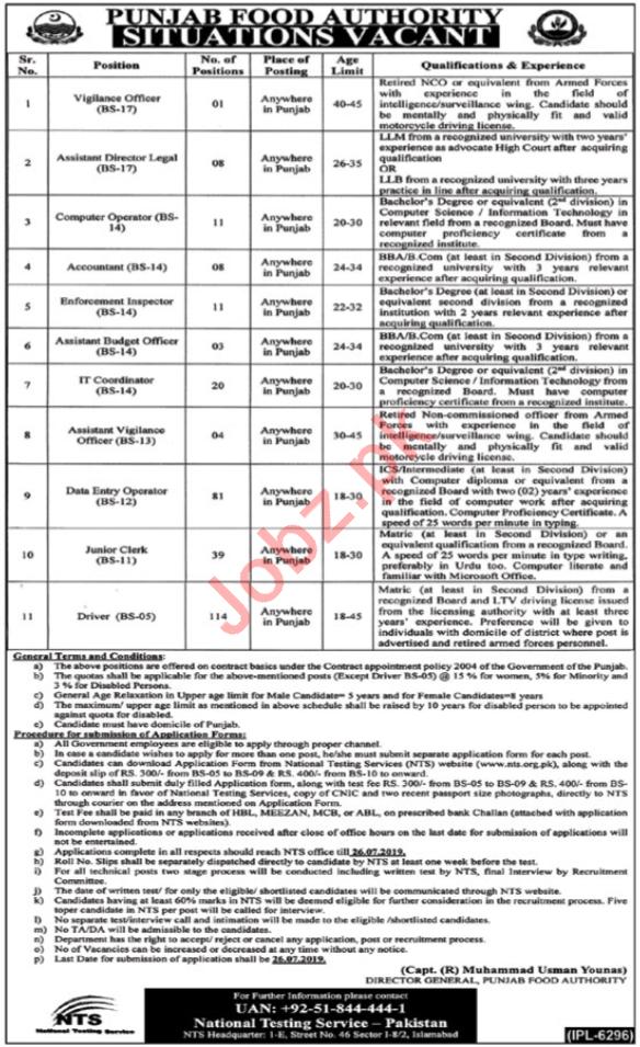 Punjab Food Authority Lahore Administration Staff Jobs 2019