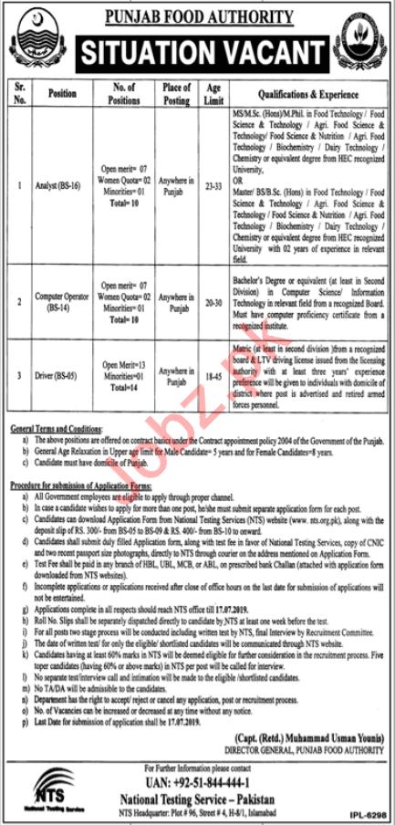 Punjab Food Authority PFA Jobs 2019 via NTS
