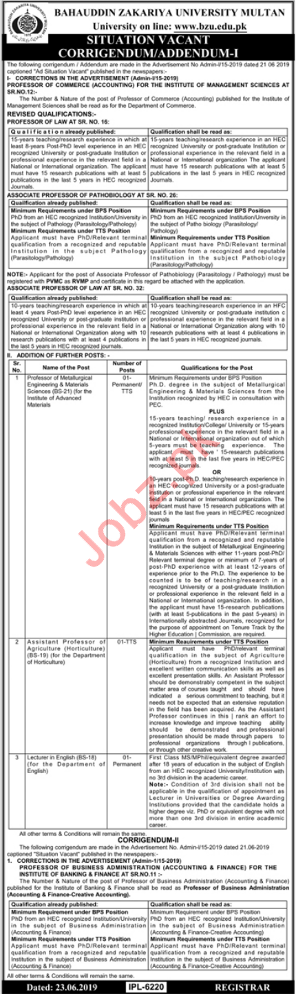 Bahauddin Zakariya University BZU Faculty Jobs 2019