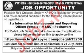 Pakistan Red Crescent Society PRCS NGO Job 2019