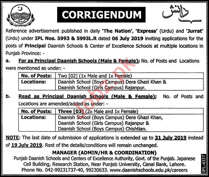 Punjab Daanish Schools & Center of Excellence Jobs 2019