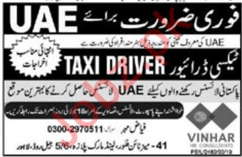 LTV Taxi Driver Job 2019 in United Arab Emirates UAE
