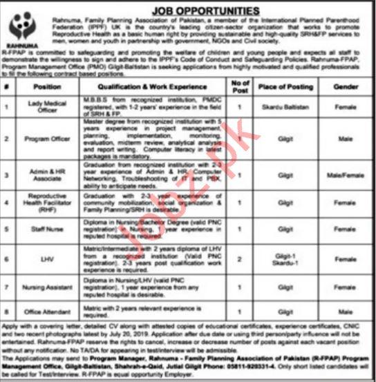 Rahnuma Family Planning Association of Pakistan Jobs 2019