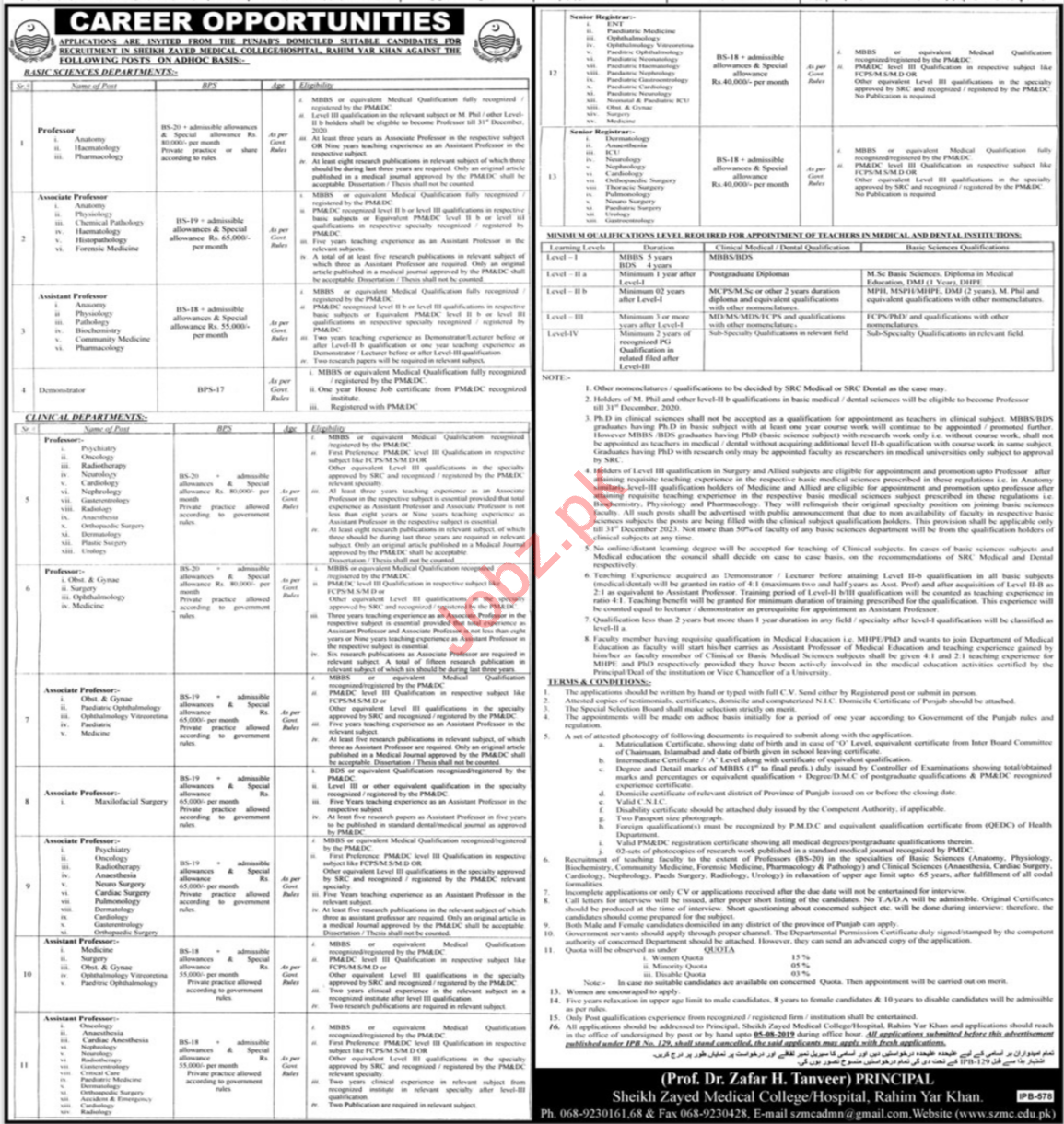 Sheikh Zayed Medical College Hospital Jobs 2019
