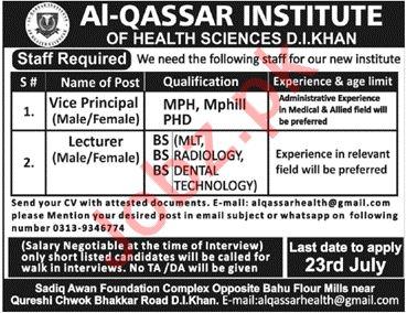 Al Qassar Institute of Health Sciences Jobs 2019 in DI Khan