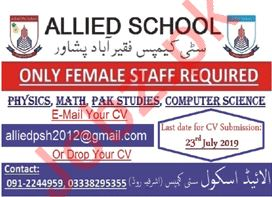 Allied School City Campus Fariqabad Peshawar KPK Jobs 2019