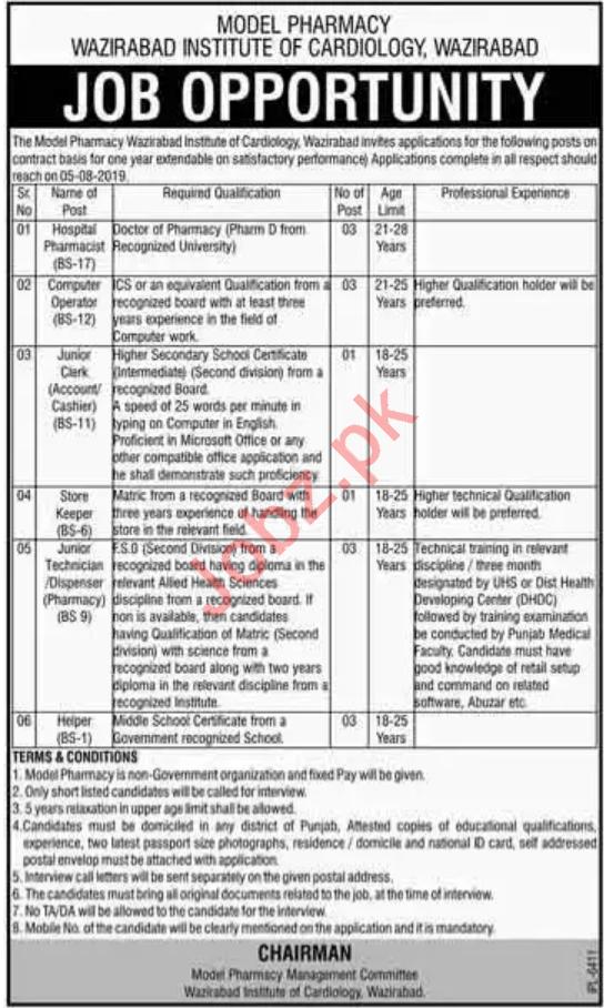 Wazirabad Institute of Cardiology Jobs 2019 in Wazirabad
