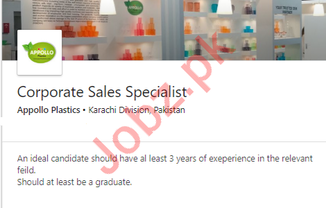 Corporate Sales Specialist Job 2019 in Karachi
