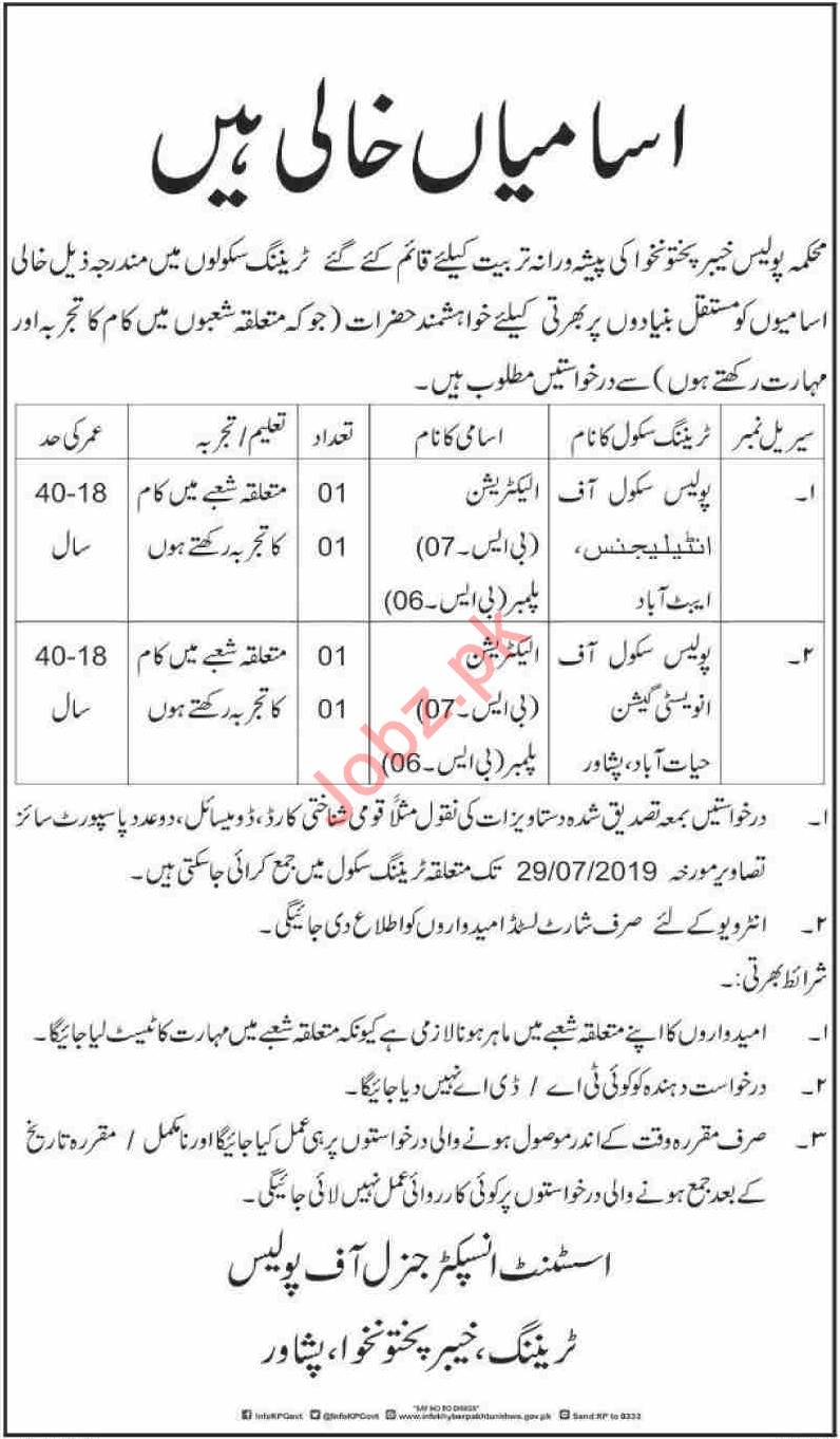 Police School of Intelligence Jobs For Abbottabad & Peshawar