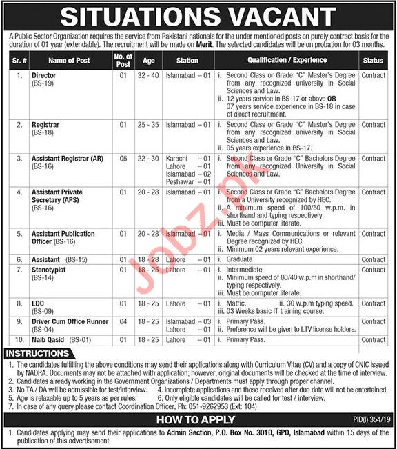LDC job in Public Sector Organization Islamabad | JOBS IN PAKISTAN