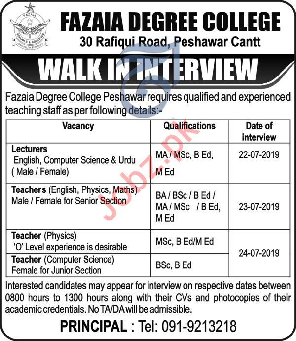 Fazaia Degree College Peshawar Cantt Jobs 2019