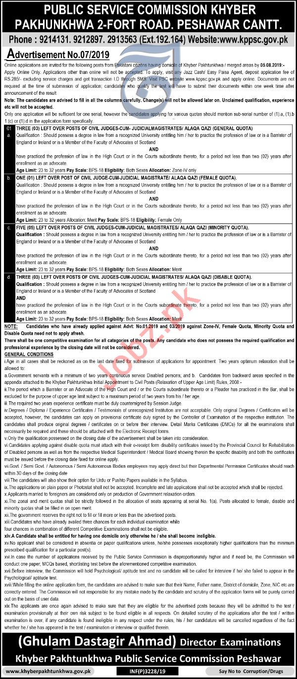 KPK Public Service Commission Peshawar Cantt Jobs 2019