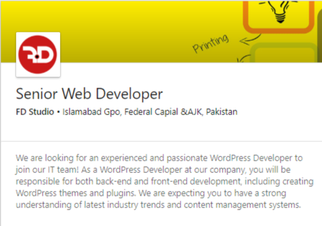 Senior Web Developer Job 2019 in Islamabad