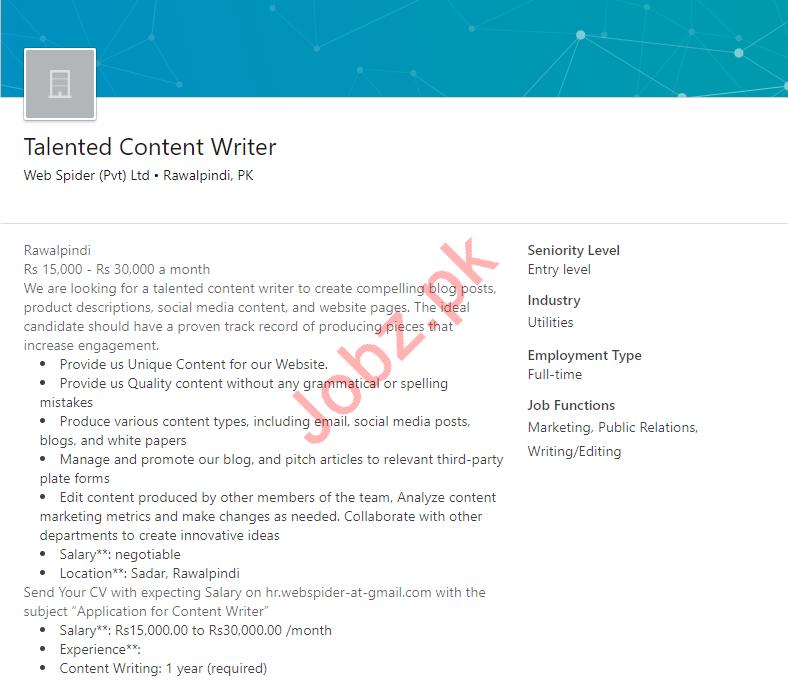 Content Writer Job in Rawalpindi