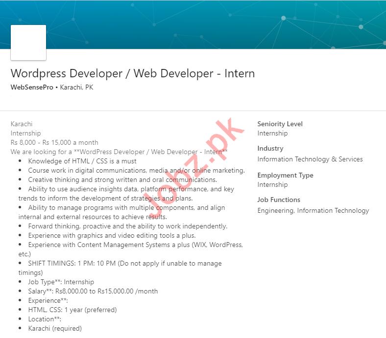 Wordpress Developer Web Developer Internship In Karachi 2020 Job Advertisement Pakistan