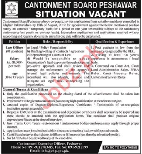 Cantonment Board Peshawar Jobs 2019