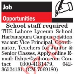 The Lahore Lyceum Lahore Jobs 2019 for Teachers