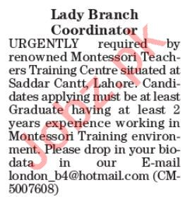 Lady Branch Coordinator Jobs 2019 in Lahore