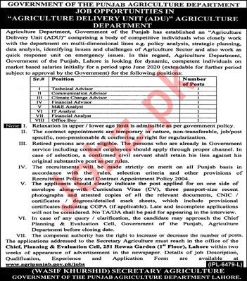 Government Of Punjab Agriculture Department Lahore Jobs 2019