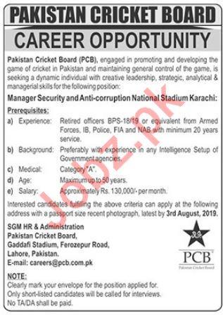 Pakistan Cricket Board Jobs 2019