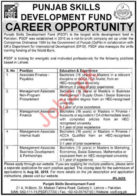 PSDF Punjab Skills Development Fund Jobs in Lahore